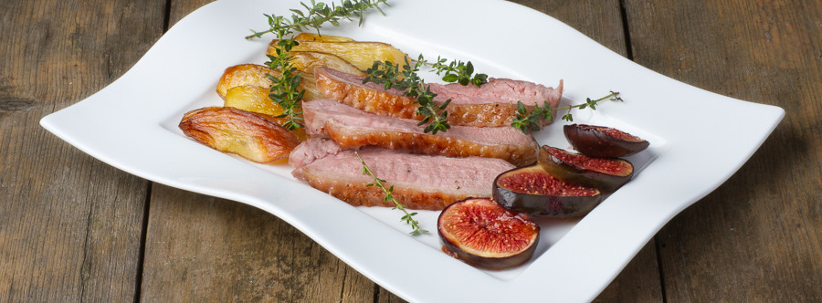 Acacia Honey Caramelized Duck Breast with roasted Mission Figs