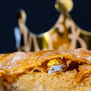 Joyous King (King of joy) stuffed williams pear with almond creme in a flaky pastry pie