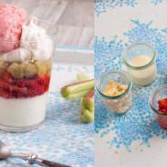 Frisches Erdbeereis auf Vanille Panna Cotta mit gelierten Rhabarberwürfeln, Erdbeersalat und Meringue