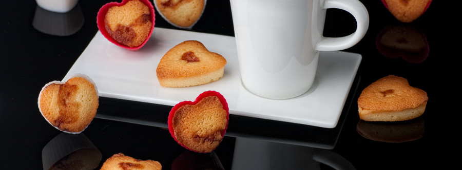 Heart Shaped Madeleines with Jam